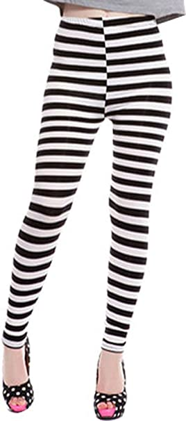 3848af00479c Women's Black and White Stripes Full Length Summer Leggings, Cross Stripe  at Amazon Women's Clothing store: