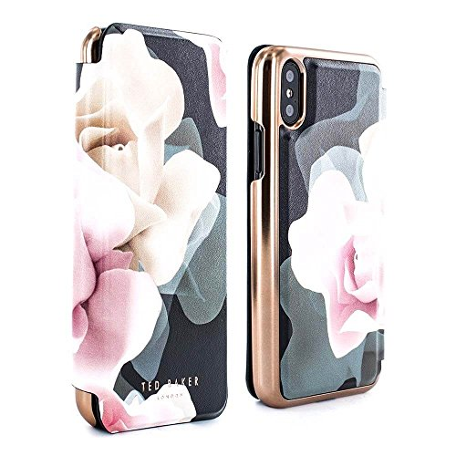 Ted Baker Official KNOWIT Mirror Folio Case for iPhone X/XS, Premium Folio Cover for Professional Women/Girls - Porcelain Rose (Black)