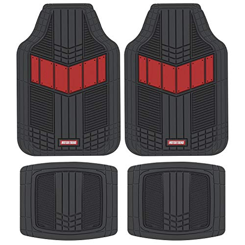 Motor Trend MTX101 Red DualFlex Two-Tone Rubber Car Floor Mats for Automotive SUV Van Truck Liners - Channel Drainer All Weather Protection ()
