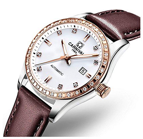 Luxury Rhinestone Women's Automatic Mechanical Watch Brown Or White Leather Strap Waterproof Watch