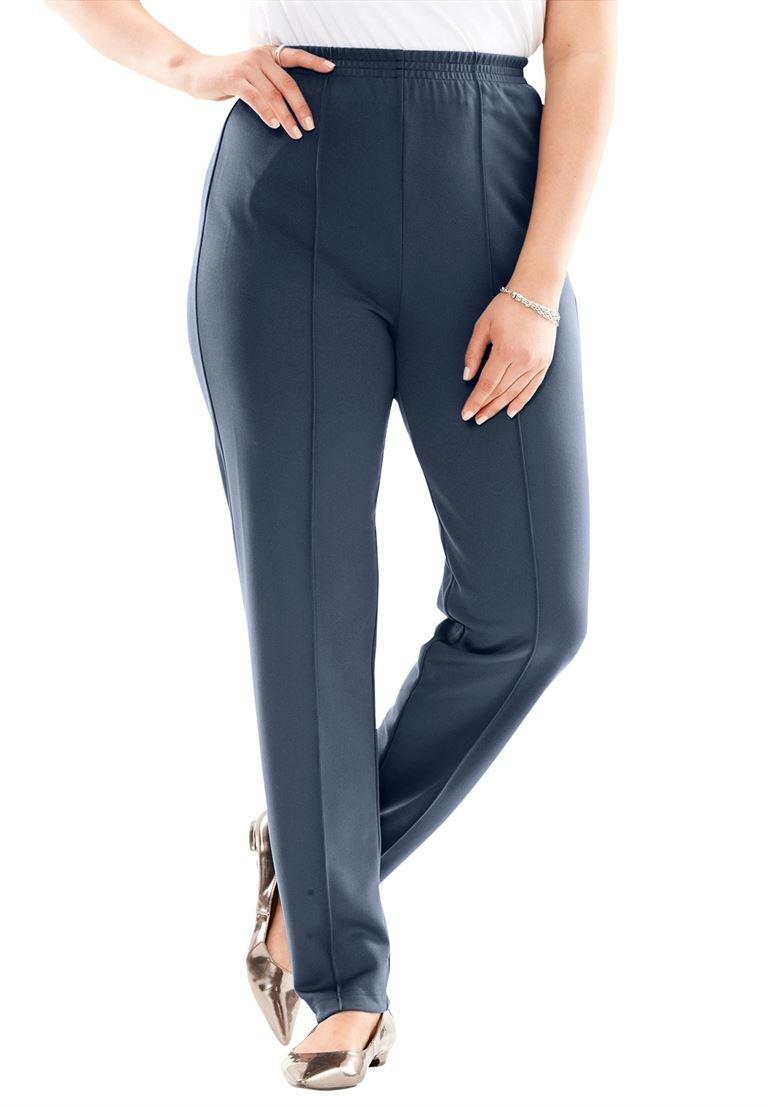 Roamans Women's Plus Size Creased-Front Knit Pants