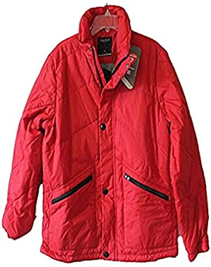 Quilted Down Mens Winter Jacket Medium Red