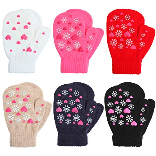Coobey 6 Pairs Toddler Magic Stretch Mittens Winter Unisex Baby Knitted Gloves Mittens (Mixed Color C, 2-4 ()