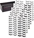 Celeb Beauty Eyelash Splashes 100 Pair Faux Lashes Variety Pack - Reusable Fake Eyelashes in 10 Styles - Hypoallergenic Strip False Lashes Set with Soft Natural, Fluttery Wispies, Dramatic Falsies
