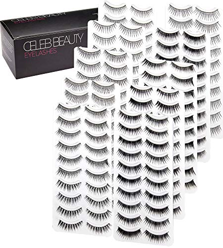 Celeb Beauty Eyelash Splashes 100 Pair Faux Lashes Variety Pack - Reusable Fake Eyelashes in 10 Styles - Hypoallergenic Strip False Lashes Set with Soft Natural, Fluttery Wispies, Dramatic Falsies ()