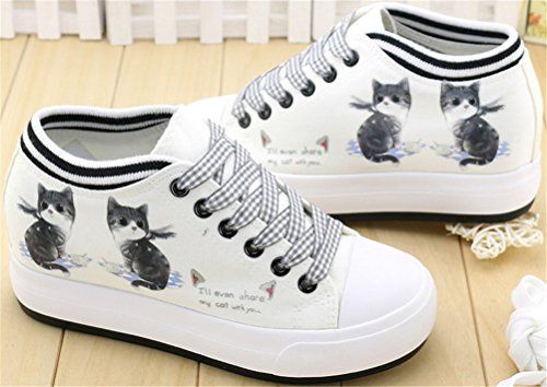 SATUKI Hidden Heel Fashion Sneakers For Women,Wedges Platform Lace Up Casual White Sports Canvas Shoes E