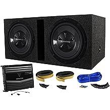 "Package: Kenwood P-W1220 Package of: Kenwood KAC-5206 400W Peak/120W RMS 2-Channel Car Amplifier + 2)KFC-W112S 12"" 800W Peak/200W RMS 8-Ohm Car Subwoofers + Rockville RDV12 Dual 12"" Vented Sub Enclosure + Dual Enclosure Wire Kit w/ 14 Gauge Speaker Wire"