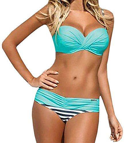 Lukitty Women's Push Up Bikini Set Two Piece Strapless Bathing Suit Swimsuit L Blue