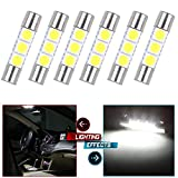 CCIYU 6x White LED 28mm-31mm 5050 3SMD Fuse Vanity Mirror Light Bulb For 3056 3057 TS-14V1CP 6000k 28mm 29mm 30mm 31mm/ For Car Interior Sun Visor Vanity Mirror Light