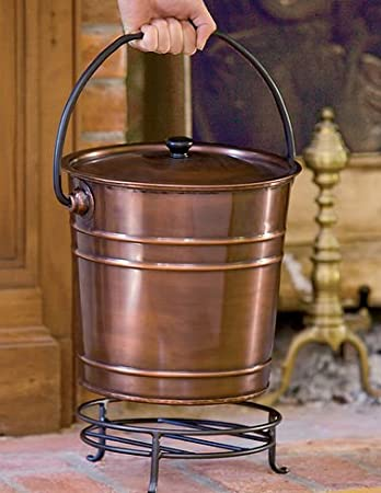 Amazon.com: Steel Copper Finish Fireplace Ash Bucket With Floor Protection Stand: Home & Kitchen
