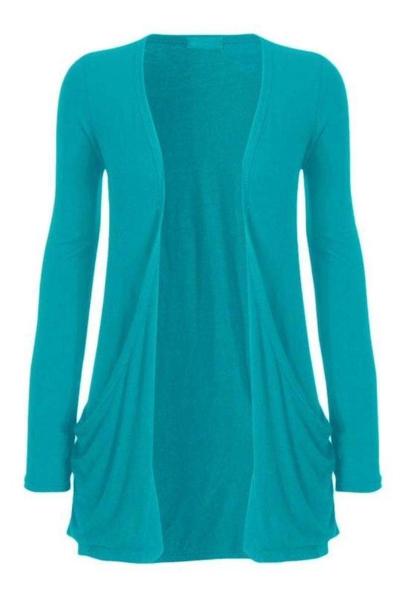 Crazy Girls Womens Boyfriend Pocket Cardigan Jersey Shrug (M/L-US10/12, Turquoise)