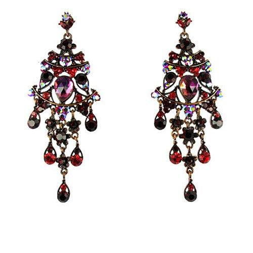 Red on Silver Plated Long Chandelier Earrings: Amazon.co.uk: Jewellery