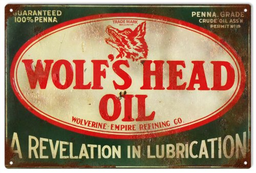 Vintage Looking Wolf's Head Oil Gas Service Station Reproduction Sign