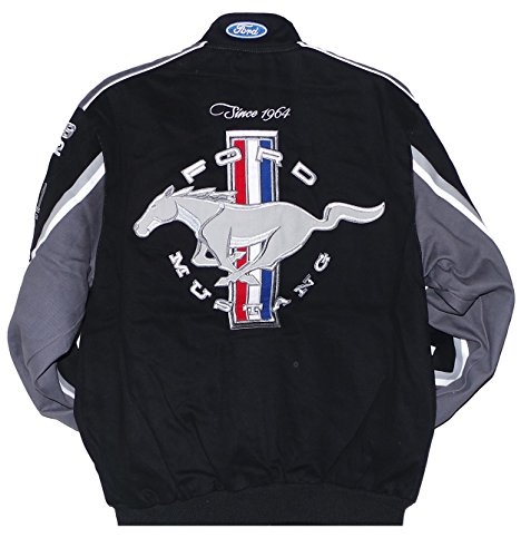 2017 Mustang Racing Cotton Embroidered Jacket Black JH Design XLarge by J.H. Design (Image #1)
