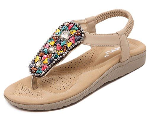 Mujeres Bohemian Soft Beads De Aisun Open Split Dedo Del Pie T Correa Elástica Plana Playa Sandalias De La Correa De Los Zapatos Albaricoque