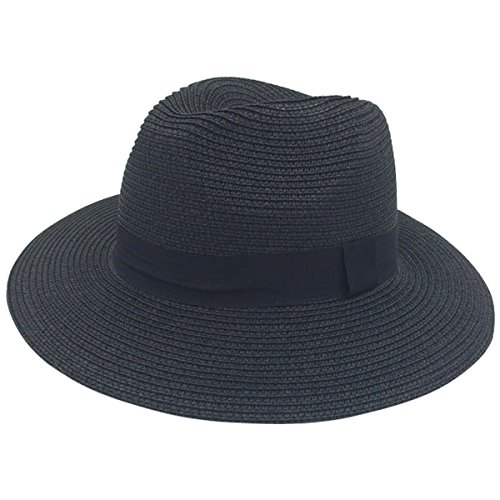 Lanzom Women Wide Brim Straw Panama Roll up Hat Fedora Beach Sun Hat UPF50+ (Black Panama Straw Hat)