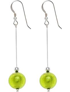 Amanti Venezia Lime Green Freshwater Pearl, Crystal and Murano Drop Earrings of 5.2 cm