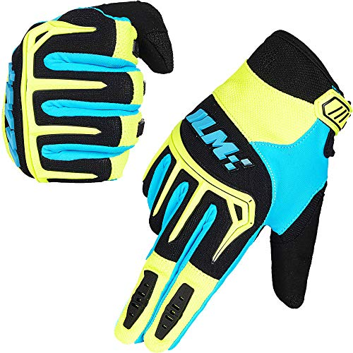 ILM Dirt Bike Motorcycle Gloves Unisex Fit BMX MX ATV MTB Racing Mountain Bike Motocross Outdoor Sports (Adult Size-Blue, Adult-L) (Dirt Bike Glove Amazon)