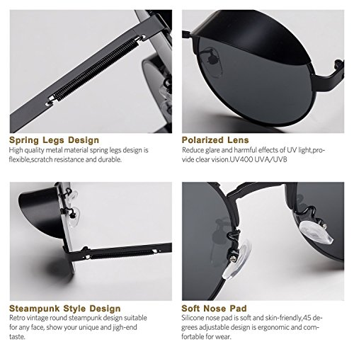 Steampunk Round Polarized Sunglasses Retro Vintage Circle Spring Style Frame Metal Hippie Sun Glasses for Men Women Classic Gothic Glasses Grey Lens/Hat/Black Frame