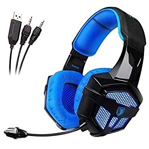 Sades SA806 PC Stereo Gaming Headset 3.5mm USB Blue Led Lighting Computer Headphones with Microphone,Vibration for Laptop Mac(Black-Blue)