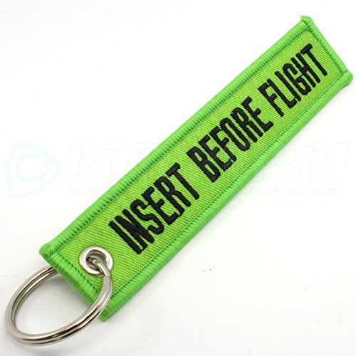 Rotary13B1 Insert Before Flight Keychain - Lime Green/black