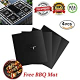 Gas Stove Burner Covers, Reusable Gas Range Protector Covers, Gas Cooktop Cover, Non Stick- Hob Stovetop Liner Cover with 1 BBQ Mat - FREE - 10.6'' x 10.6'' -0.2 mm thick, FDA Approved (4 PACK - Black)