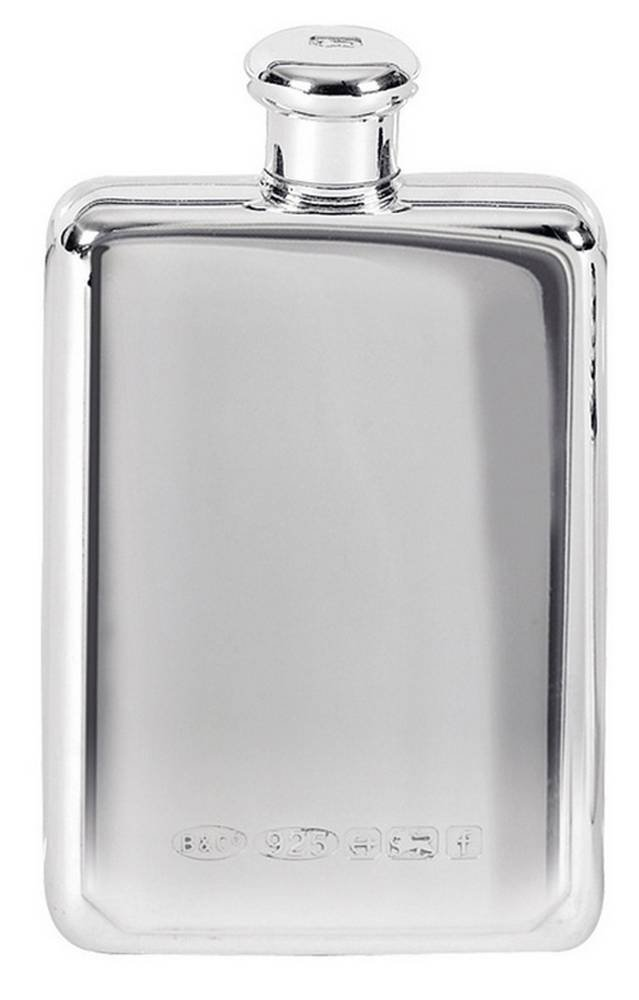 Silver 3oz Screw Top Hip Flask by Orton West