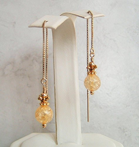 Yellow Round Crackle Glass Gold Filled Box Chain Ear Thread Threader Earrings Gift Idea