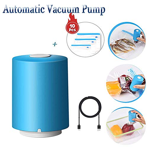 ChenLee Handheld Mini Automatic Compression Vacuum Pump Vacuum Sealers Machine USB Rechargeable Electric Air Pump with 10Pcs Zipper Vacuum BagPortable Multi-Functional for Travel/Home