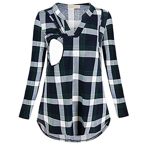 (Fheaven Women Classic Plaid Maternity Breastfeeding Tee Nursing Tops Long Sleeve T-Shirt (L, Black))