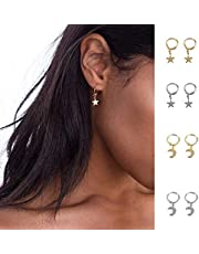 gootrades 4 Pairs Trendy Gold Color Small Star Hoop Earrings for Women Ear Piercing Huggie Earrings Simple Jewelry