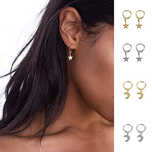 Huggie Hoop Earrings, Star Moon Small Gold Silver Earrings with Trendy Style for Women Ear Piercing Simple Jewelry, 4 Pairs