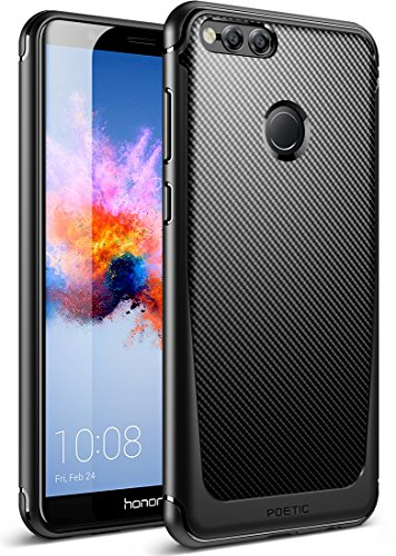 Poetic Huawei Honor 7X Case/Huawei Mate SE Case, Karbon Shield [Shock Absorbing] Slim Fit TPU Case with [Carbon Fiber Texture] for Huawei Honor 7X (2017)/Huawei Mate SE (2018) Black