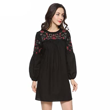 Virtual Store USA Women vintage floral embroidery loose pleated dress plack lantern sleeve casual summer mini