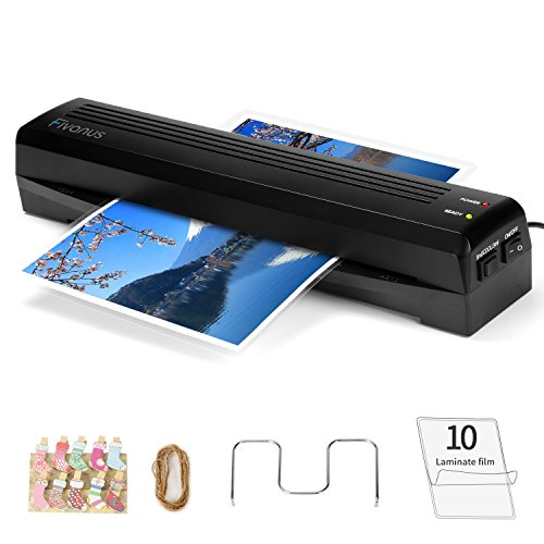 "Fivanus Thermal Laminator A3 A4 Lamination Machine 2 Rollers with 250mm/min Quick Warm-up Laminating Speed, 340mm 13"" Max Width, 3 mil to 5 mil, 10 Photo Peg Clips + 10 Laminating Pouches"