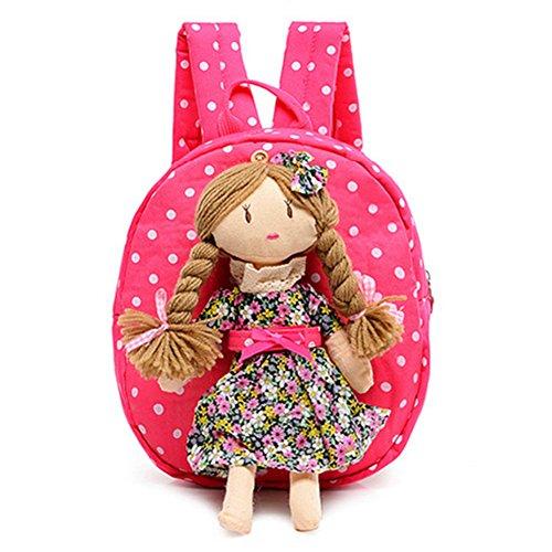 Neeior Cute Doll Baby Girls Canvas Shoulder Backpack Toddlers Preschool Schoolbag Travel Rucksack Rose Red