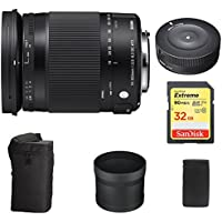 Sigma 18-300mm F3.5-6.3 DC Macro HSM Lens Contemporary for Sony Alpha Cameras (886-205) with Sigma USB Dock for Sony Lens & Sandisk 32GB Extreme SD UHS-I Memory Card