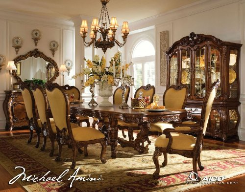 11-pc Palais Royale Rectangular Dining Table Set by AICO - Rococo Cognac - 35 (Aico Furniture)