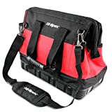 Hi-Spec Wide Mouth Tool Bag with Waterproof Ultra-Rigid Molded Base, Rubber Handles,600D Reinforced Material for Home DIY Use