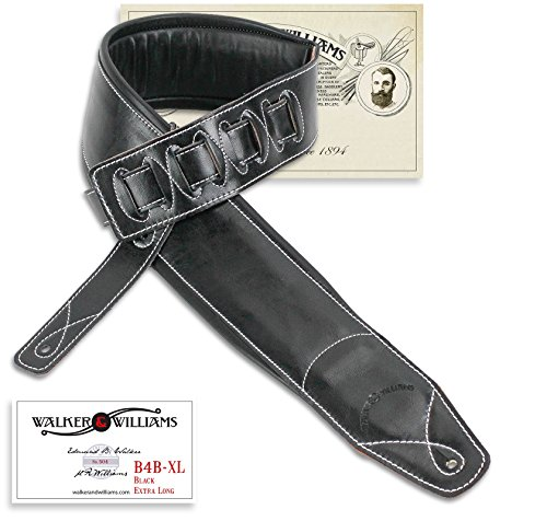 "Walker & Williams B4B-XL Extra Long 4"" Wide Leather Padded Bass Strap Up To 64"