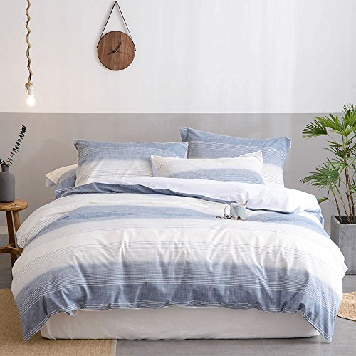 Merryfeel Cotton Duvet Cover Set,100% Cotton Yarn Dyed Stripe Duvet Cover with 2 Pillowshams, 3 Pieces Bedding Set- King ()