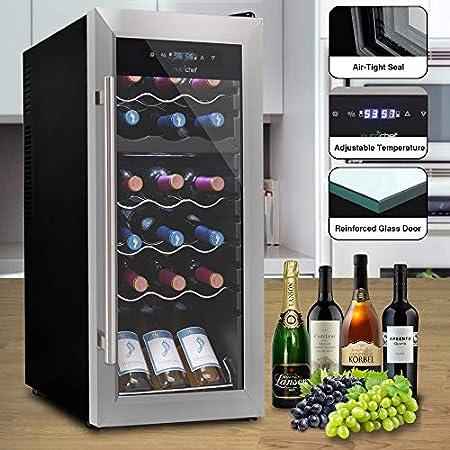 18 Bottle Wine Cooler Refrigerator - White/Red Wine Fridge Chiller Countertop Wine Cooler - Freestanding Compact Mini Wine Fridge 18 Bottles w/Digital Control, Glass Door - NutriChef PKCWCDS185