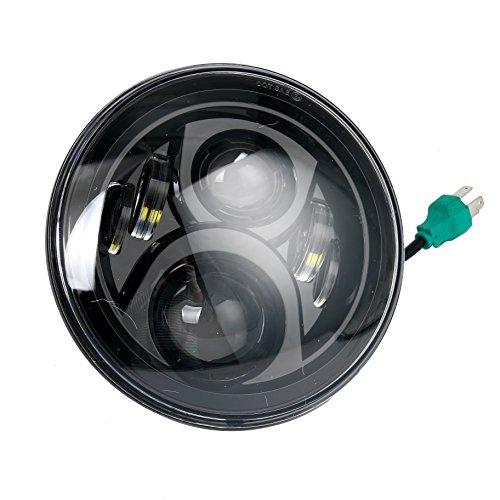 7 LED Headlight LED Light Headlamp Bulb Compatible with Harley Davidson Motorcycle Projector Daymaker Jeep Wrangler JK LJ CJ Black
