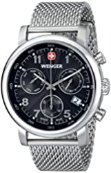 "Wenger Men's 01.1043.102 ""Urban Classic"" Silver-Tone Chrono Watch with Mesh Bracelet"
