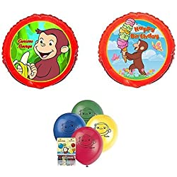 CURIOUS GEORGE Monkey Jungle Birthday Party Figure 10 Piece Mylar & Latex Balloons Set
