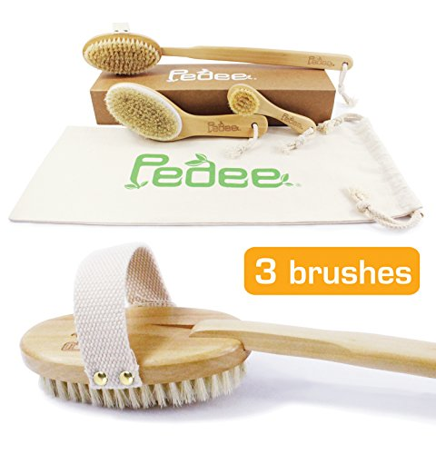 3 Dry Brushes/Set 100% Natural Boar Bristles Body Brushes & Face Brush-Extra Long Detachable Handle 17' - Dry Brushing - Back Scrubber - Contour Handle Dry Body Brush -Exfoliate Skin -Reduce Cellulite