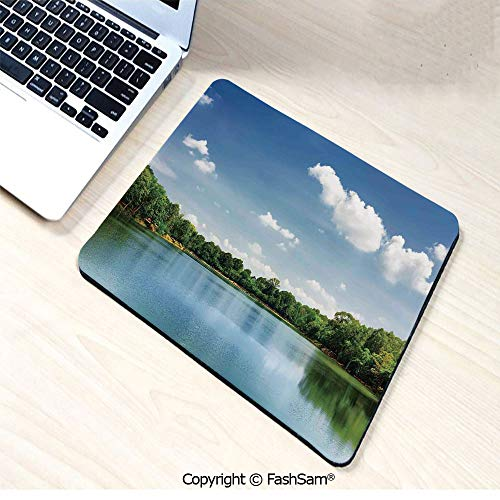 Mouse Pads Calm River Landscape Among Rainforest in South Asia Under Sunny Sky Peace Print for Home(W7.8xL9.45)