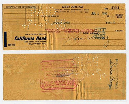 Original Dezi Arnaz Signed Autographed Check #4754