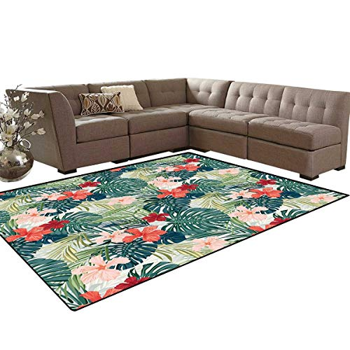 Leaf Door Mats Area Rug Summer Beach Holiday Themed Hibiscus Plumeria Crepe Ginger Flowers Anti-Skid Area Rugs 6'x9' Pink Red Green and Dark Green ()
