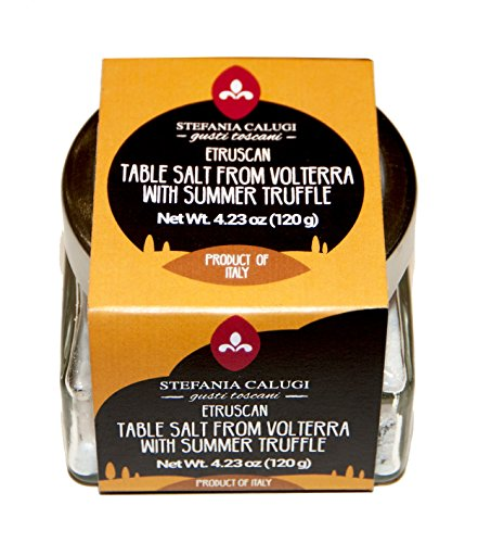 Italian Truffle Salt by Stefania Calugi 4.23Oz/120G. Imported Gourmet Table Salt from Volterra (Tuscany) with Black Summer Truffles